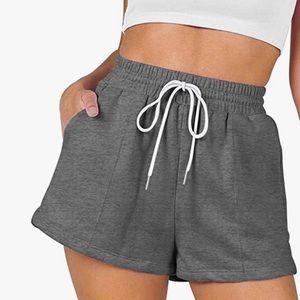 Casual Drawstring Workout Lounge Shorts Soft Gray